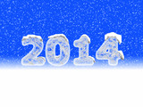 The year 2014 ice text sign with blue and white background