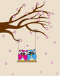 Card san Valentin  Owls in love