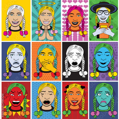 Woman cartoon emotions in pop art style