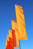 Several festive orange flags