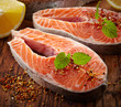 fresh raw salmon steak slices