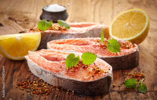 fresh raw salmon steak slices