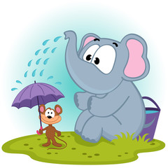 elephant pours water on mouse - vector illustration