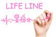 life line, pink marker