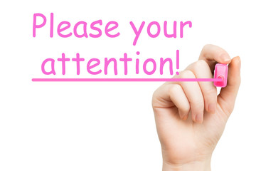 attention, pink marker