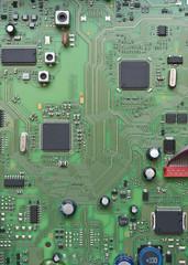 Dettaglio di un circuito integrato con chip