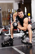 Athletic man working with heavy dumbbells at the gym