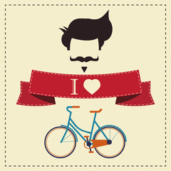 Hipster vintage hair style, mustache and bicycle, vector