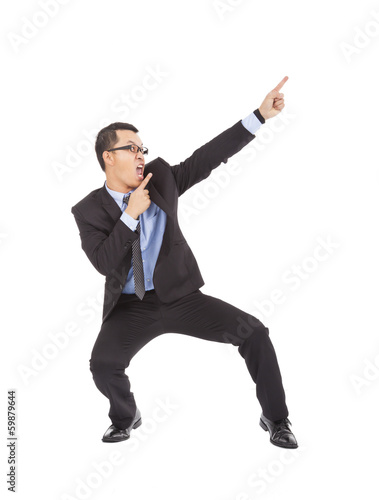 crazy businessman dancing  a funny gesture