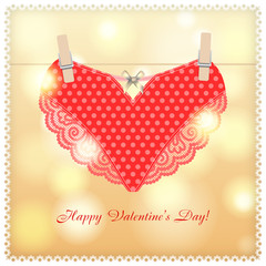 Greeting card with heart for Valentine's day