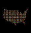 Vector USA light dot map