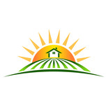 Vector Logo Farm House with sun