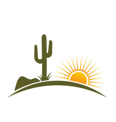 Logo Vector Desert design elements with sun