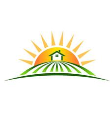 Vector Logo Farm House with sun
