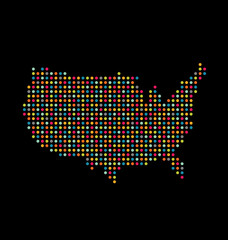 Vector USA light dot map