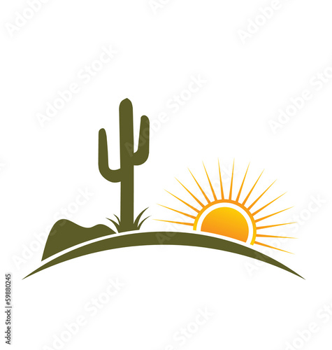 Logo Vector Desert design elements with sun