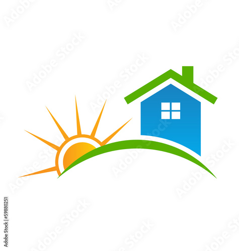 Logo vector Style House with sun