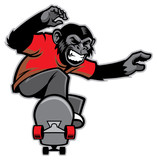 chimpanze ride a skateboard