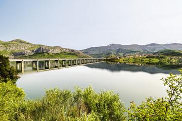 Beautiful landscape in Riaño reservoir, Leon, Spain