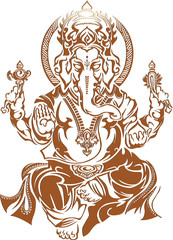 Ganesh tattoo, Hindu God on white background