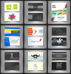 Big set of vector creative business cards.