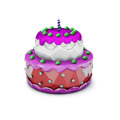 Abstract Polygonal Birthday Cake with Candle. Illustration