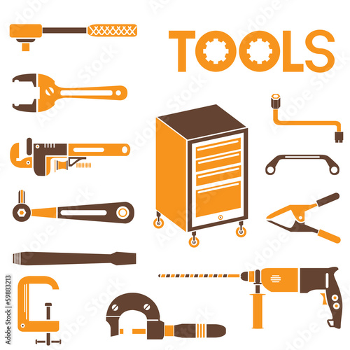 tools, orange color theme
