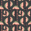 Geometric seamless vector pattern watermelons and its seeds