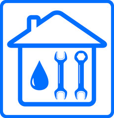 repair plumbing symbol with water drop, wrench on home