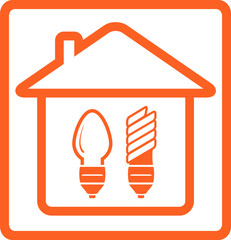 home bulb symbol with incandescent and mercury lamp in house