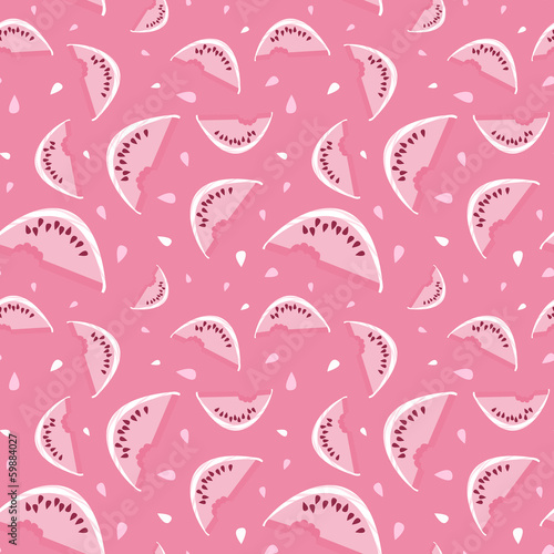 Seamless vector watermelon pattern with seeds