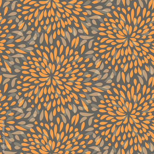 Seamless splattered fireworks pattern in orange and grey