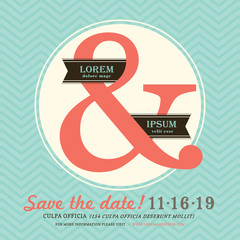 Modern Ampersand Wedding invitation with chevron background temp