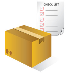 carton box and check list, shipping box, stock check concept