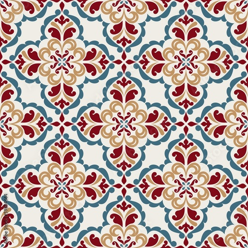Seamless pattern with floral elements.