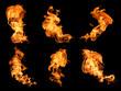 Leinwandbild Motiv Flames on a black background.