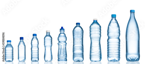 Many water bottles isolated on white - 59884896