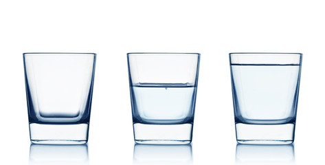 Empty,half and full water glasses . Isolated on white background