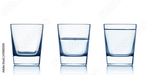 Papiers peints Eau Empty,half and full water glasses . Isolated on white background