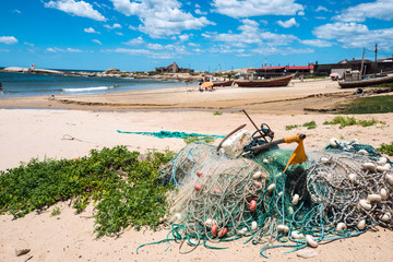 Nets on the Punta del Diablo Beach, Uruguay