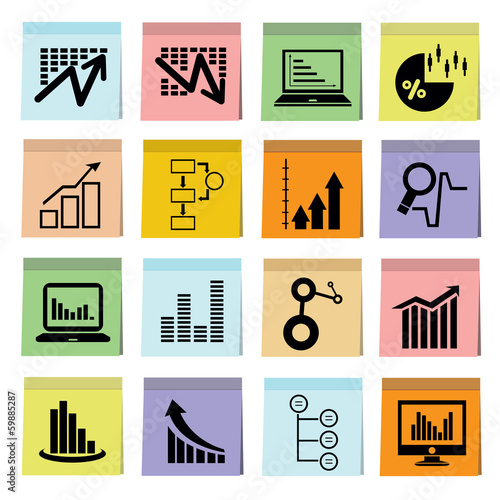 business analysis icons set, graph icons, note paper