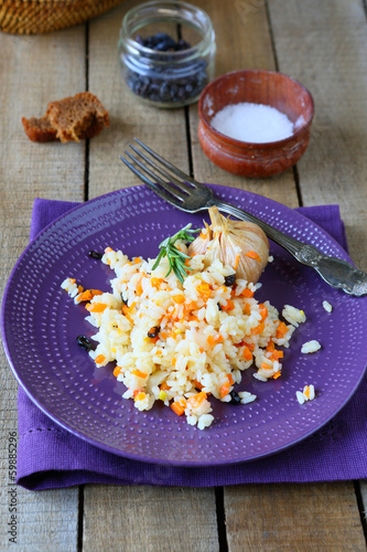 appetizing pilaf with carrots and barberry
