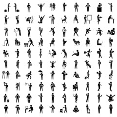 silhouette business people set, business man in different acting