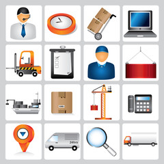 logistic icons, shipping icons, supply chain management