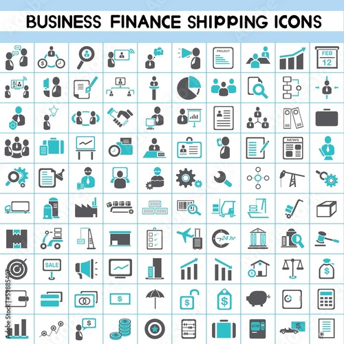 business icons, human resource, finance, shipping, logistic