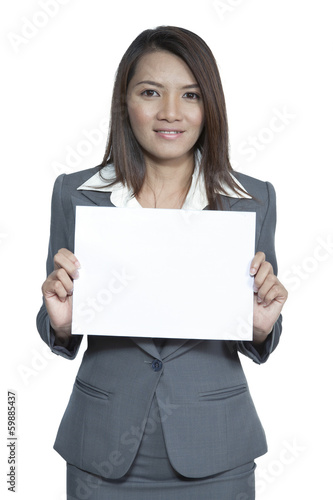 Young Asian business woman attractive brunetee showing blank sig