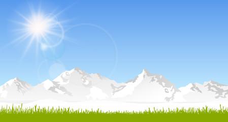 Skyline Berge Frühling