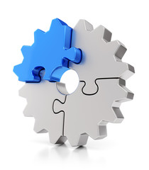 Puzzle gears. Teamwork concept.