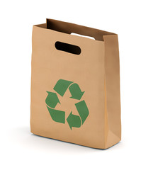 Brown paper bag with recycling symbol