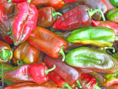 Red and Green Peppers on a Market